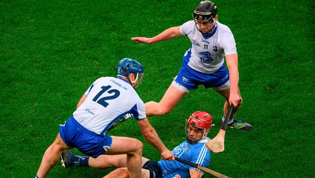 Dublin's Niall McMorrow in action against Waterford's Michael Walsh and Pauric Mahony. Photo: Ray McManus/Sportsfile