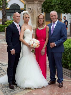 **ALL ROUND EXCLUSIVE PICTURES FROM SOLARPIX.COM** **WORLDWIDE SYNDICATION RIGHTS**                                                                                   Pics show the wedding of Irish rugby union player Peter Stringer and Deborah O'Leary. Peter, who plays at scrum-half for Sale and Ireland, married his sweetheart today at 1pm at Nuestra Senora de la Encarnacion at the Plaza de la Iglesia, in the old town of Marbella. This pic:  Peter Stringer and Deborah O'Leary & family JOB REF: 09.06.15  AB1  DATE: 09.06.15 **MUST CREDIT SOLARPIX.COM OR DOUBLE FEE WILL BE CHARGED** **MUST AGREE FEE BEFORE ONLINE USAGE** **CALL US ON: +34 952 811 768 or LOW RATE FROM UK 0844 617 7637**