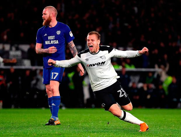 Matej Vydra celebrates after putting Derby County into the lead at Pride Park. Photo: PA