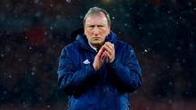 Cardiff City manager Neil Warnock applauds fans after the match. REUTERS/Eddie Keogh