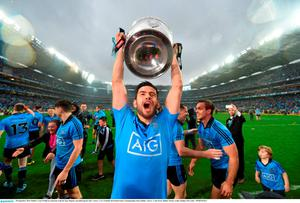 20 September 2015; Dublin's Cian O'Sullivan celebrates with the Sam Maguire cup following his side's victory. GAA Football All-Ireland Senior Championship Final, Dublin v Kerry, Croke Park, Dublin. Picture credit: Stephen McCarthy / SPORTSFILE