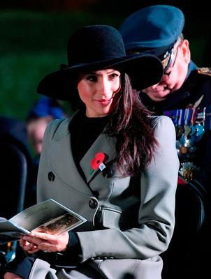 Meghan Markle attends the Dawn Service at Wellington Arch to commemorate Anzac Day on April 25, 2018 in London, United Kingdom. (Photo by Toby Melville - WPA Pool/Getty Images)
