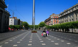 An almost deserted O'Connell Street yesterday.