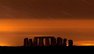 A general view of Stonehenge during the annual Perseid meteor shower in the night sky in Salisbury Plain, southern England