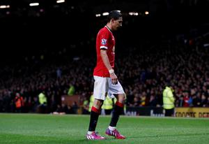 Manchester United's Angel Di Maria walks off the pitch after being shown a red card Reuters / Andrew Yates