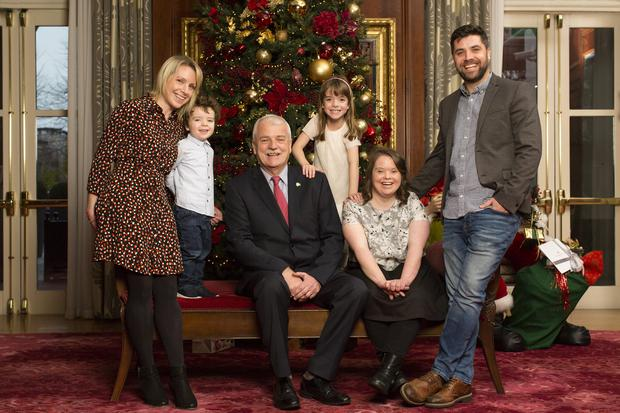 Finian McGrath, centre, with from far left, his daughter Caoimhe, his grandchildren Cillian and Anna, his daughter Cliodhna, and his son-in-law Niall