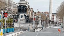 A deserted O'Connell Street yesterday
