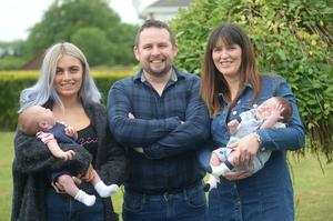 Dad and Granddad Alan Barry, on his left is his daughter Serena with her son Cole, on his right is his wife Niamh and their son Archie    Pic Seamus Farrelly