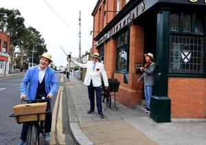 Bloomsday 2020.  Simon Morgan, Tom Fitzgerald and musician Luke Cosgrave outside Fitzgeralds pub in Glasthuile village  Picture; Gerry Mooney