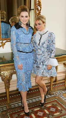 Sarah Morrissey wears a creation by  designer Catriona Hanly (Right) at The Etihad Airways International Charity Lunch and Fashion Show in aid of the Rape Crisis Centre.