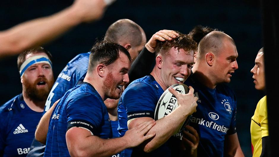 Dan Leavy of Leinster celebrates after scoring his side's fifth try with team-mates during the Guinness PRO14 match between Leinster and Edinburgh at the RDS Arena. Photo by Harry Murphy/Sportsfile