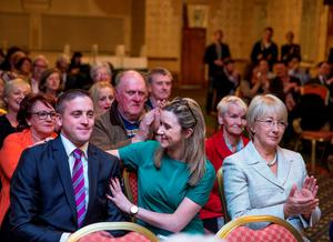 Cllr Cormac Devlin is congratulated on his selection by Cllr Kate Feeney as Mary Hanafin looks on at the Fianna Fail selection convention in Killiney. Picture: Arthur Carron