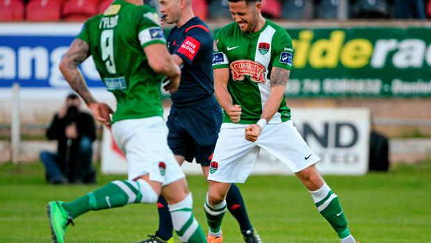 26 June 2015; Billy Dennehy, Cork City, celebrates after scoring his side's second goal from a penalty. SSE Airtricity League Premier Division, Derry City v Cork City, Brandywell, Derry. Picture credit: Oliver McVeigh / SPORTSFILE