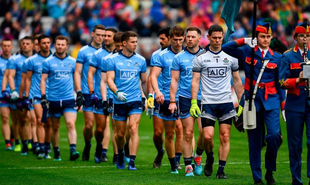 LEADING LIGHTS: Dublin captain Stephen Cluxton leads his players in the pre-match parade before the Leinster SFC Final against Meath at Croke Park on Sunday. Photo: Ray McManus/Sportsfile