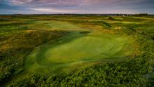 A look back up the hole towards the tee from the 16th green at County Louth Golf Club