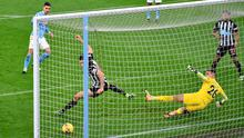 Ferran Torres slots home Manchester City's second goal past Newcastle goalkeeper Karl Darlow on Saturday