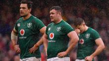 Ireland players, from left, Quinn Roux, Dave Kilcoyne and Garry Ringrose dejected after defeat in Wales last year