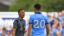 Diarmuid Connolly of Dublin with forwards coach Jason Sherlock during the GAA Football All-Ireland Senior Championship Quarter-Final Group 2 Phase 3 match between Tyrone and Dublin at Healy Park in Omagh, Tyrone. Photo by Brendan Moran/Sportsfile