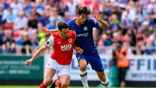 Eric Molloy battles Chelsea's Marcos Alonso last year. He played against the Premier League side twice as a trialist for both Bohemians and St Pat's. Photo: Matt Browne/Sportsfile