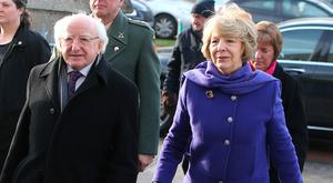 Michael D Higgins, President of Ireland and his wife Sabina arrive at the Church of the Sacred Heart in Donnybrook for the funeral of TK Whitaker. Photo: Damien Eagers