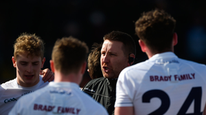 11 March 2018; Kildare manager Cian O'Neill speaks to his team ahead of the Allianz Football League Division 1 Round 5 match between Kildare and Mayo at St Conleth's Park in Newbridge, Kildare. Photo by Daire Brennan/Sportsfile