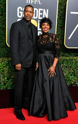 Actor Denzel Washington (L) and Pauletta Washington arrive for the 75th Golden Globe Awards on January 7, 2018, in Beverly Hills, California. / AFP PHOTO / VALERIE MACON        (Photo credit should read VALERIE MACON/AFP/Getty Images)
