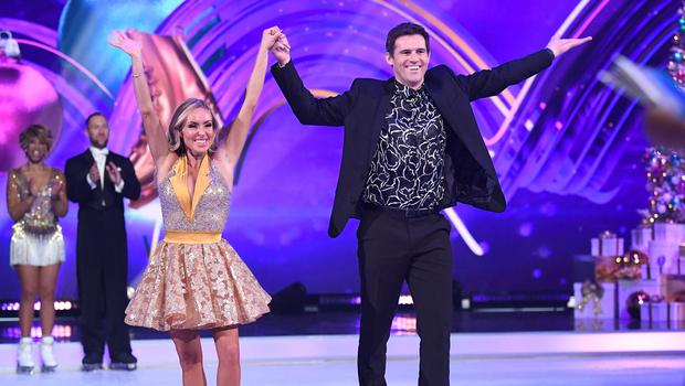 Foot-loose: Kevin Kilbane and Brianne Delcourt were eliminated from 'Dancing on Ice' last weekend. Photo: Karwai Tang/WireImage