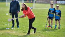 Good sport: Kate hurling at Salthill Knocknacarra GAA Club in Galway. Photo: Charles McQuillan/Getty Images