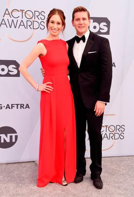 Jessica Herman (L) and Allen Leech attend the 25th Annual Screen ActorsGuild Awards at The Shrine Auditorium on January 27, 2019 in Los Angeles, California. 480645  (Photo by Gregg DeGuire/Getty Images for Turner)