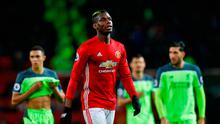 Manchester United's Paul Pogba leaves the pitch at half-time during the Premier League match at Old Trafford yesterday