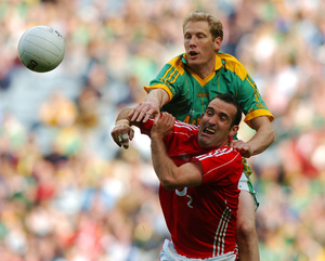 ROYAL FORCE: Meath's Graham Geraghty battles for possession with Cork's Kieran O'Connor during the 2007 All-Ireland SFC semi-final. Pic: Brendan Moran / Sportsfile
