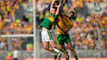 Kerry's Paul Murphy outjumps Ryan McHugh of Donegal during the All-Ireland final at Croke Park. Photo: Piaras O Midheach / SPORTSFILE