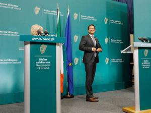 An Taoiseach, Leo Varadkar TD, leaves the press centre after speaking to the media at Government Buildings, Dublin, on the next phase of the Roadmap for reopening society and business following a Cabinet meeting. Photo: Leon Farrell/Photocall Ireland/PA Wire