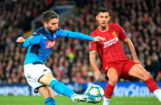 Dries Mertens opens the scoring for Napoli at Anfield