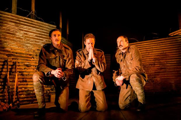 From left, Marcus Lamb, Iarla McGowan and Paul Kennedy in Observe the Sons of Ulster Marching Towards the Somme by Frank McGuinness. Photo: Johan Persson.