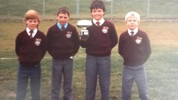 """Andrew Farrell, as he was called as a child, proudly holds the trophy after Lancashire U11s beat Yorkshire U11s in annual """"War of the Roses"""" clash"""