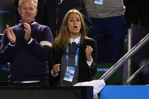 Girlfriend of Andy Murray, Kim Sears celebrates after he won in his quarterfinal match against Nick Kyrgios of Australia during day nine of the 2015 Australian Open