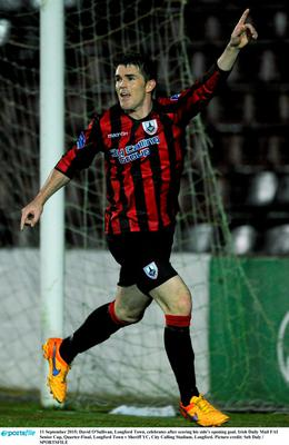 11 September 2015; David O'Sullivan, Longford Town, celebrates after scoring his side's opening goal. Irish Daily Mail FAI Senior Cup, Quarter-Final, Longford Town v Sheriff YC, City Calling Stadium, Longford. Picture credit: Seb Daly / SPORTSFILE