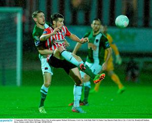 11 September 2015; Patrick McEleney, Derry City, in action against Michael McSweeney, Cork City. Irish Daily Mail FAI Senior Cup, Quarter-Final, Derry City v Cork City, Brandywell Stadium, Derry. Picture credit: Oliver McVeigh / SPORTSFILE