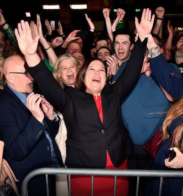 SF leader Mary Lou McDonald with her supporters at the RDS