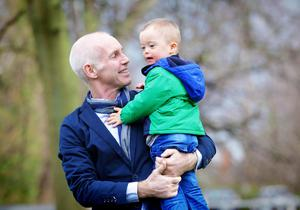 Ray D'Arcy and Socky Reunite to launch World Down Syndrome Day pictured with Conor Cunningham- 3 years old from Castleknock.