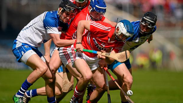 Waterford and Cork players Barry Coughlan, left, Philip Mahony, Luke O'Farrell, Patrick Horgan and Aidan Walsh all battle for possession
