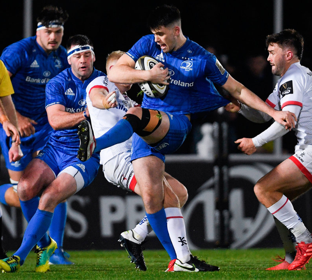 Harry Byrne of Leinster is tackled by David Shanahan of Ulster during the Guinness PRO14 match at the RDS. Photo: Sportsfile