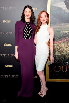 """Actresses Caitriona Balfe (L) and Lotte Verbeek attend the """"Outlander"""" mid-season New York premiere at Ziegfeld Theater"""