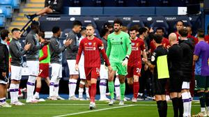 Manchester City form a guard of honour for newly crowned Premier League Champions Liverpool before the Premier League match at the Etihad Stadium. Peter Powell/NMC Pool/PA Wire.