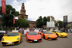 Various Lamborghinis sit parked in Castle Square on May 7, 2013 in Milan, Italy. (Photo by Pier Marco Tacca/Getty Images)