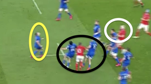 1: Munster set their stall out early by looking to Conor Murray's box-kick 20 seconds into the game. Leinster left Jordan Larmour exposed in this area two weeks ago, but it is worth highlighting how hard they worked off the ball this time around. Hugo Keenan and Will Connors sandwich JJ Hanrahan (black) in between them, which stops the Munster out-half getting a clear run to challenge Larmour (yellow) in the air. Note also how Rónan Kelleher has checked Jeremy Loughman's run (white). The escorting (or blocking) helps Larmour to catch the ball cleanly and settle any early nerves.