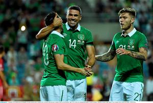 4 September 2015; Robbie Keane, left, Republic of Ireland, celebrates after scoring his side's second goal with team-mate's Jonathan Walters and Jeff Hendrick, right. UEFA EURO 2016 Championship Qualifier, Group D, Gibraltar v Republic of Ireland. Est?dio Algarve, Faro, Portugal. Picture credit: David Maher / SPORTSFILE
