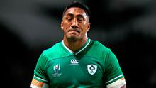 Ireland's Bundee Aki leaves the field after receiving a red card during the Rugby World Cup Pool A match at Fukuoka Hakatanomori Stadium.