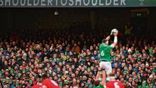 One for all: Peter O'Mahony makes a lineout catch in front of a packed house against Wales – the IRFU must ensure it repays the loyalty of its supporters, especially ten-year ticket holders. Photo: David Fitzgerald/Sportsfile